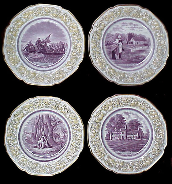 83.5388 12 Pc  Bicentennial George Washington Porcelain Memorial Plate Set 1732-1932