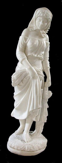 69.4521 White Marble Statue of Female with Flowers