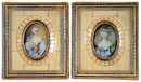 75.5018 Beautiful Pair of 19th C. Mini Hand Painted Victorian Women Portraits on Ivory