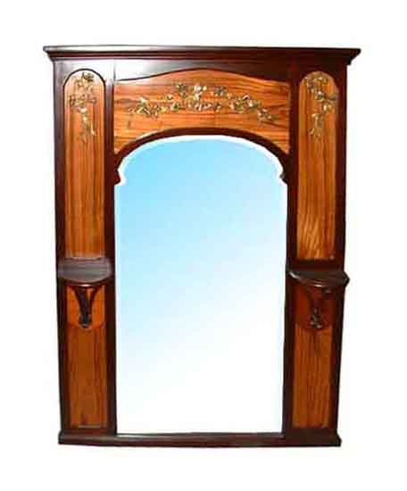 33.463A French Mahogany Art Nouveau Inlaid Mirror c. 1890