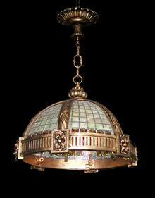 58.4869 Heavy Bronze Hanging Fixture with Chunked Amber Glass