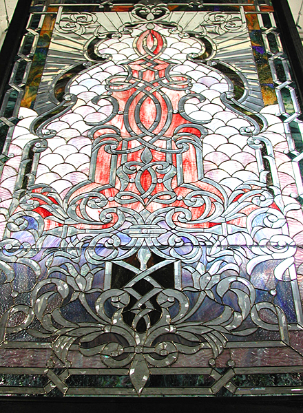 74.5454 Beveled, Stained, and Rippled Glass Window