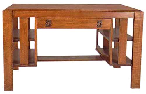 10.936 Mission Oak Desk With Center Drawer & Side Shelves