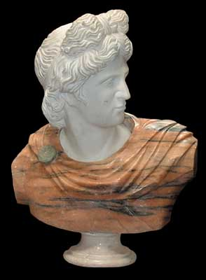 70.4242 Solid marble busts of Apollo.