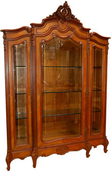 1202 Antique French Rosewood Three-Door Curio Cabinet