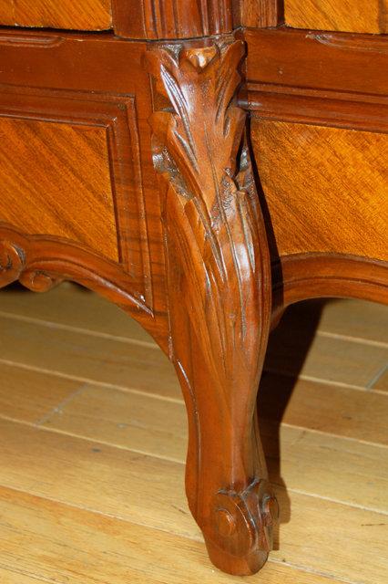 1202 Antique French Rosewood Three-Door Curio Cabinet