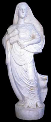 69.492 Solid Marble Statue of a Draped Woman with Book