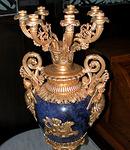 5504 Pair of Bronze & Lapis Lazuli Candelabaras