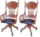 29.4150 Pair of Antique Spindle Back Chairs with Brown Leather Seats & Swivel Base