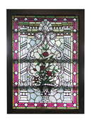 74.5035 Stained, Leaded, Beveled, Jeweled, and Zipper Cut Glass Window
