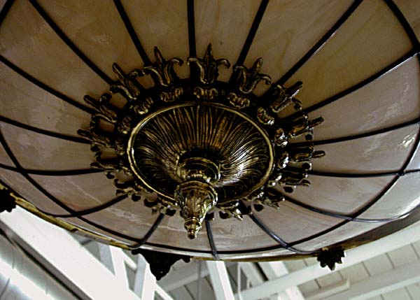56.645 Cast Bronze & Leaded Glass Canopied Chandelier
