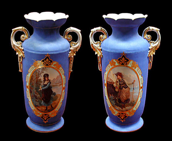 81.5539 Pair of 19th C. Hand Painted Vases by Old Paris