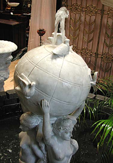 85.496 Solid Carrara Marble Fountain of 3 Graces Holding Globe