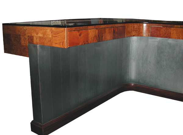 07.3165 Large Burled Top Desk with Unusual Design
