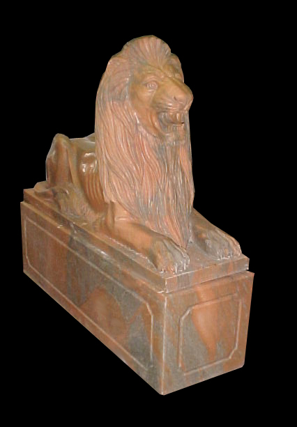 68.5121 Pair of Carved Marble Lions on Rectangular Plinths.