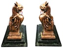 70.5566 Pair of Egyptian Revival Bronze Cat Andirons c. 1870