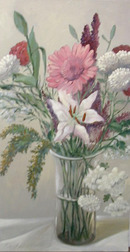 78.5611 Oil on Canvas w/Floral Scene Signed: Gerry High
