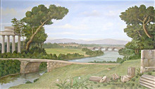 78.5615 Oil on Canvas Mural depicting Ruins Scene Signed: Gerry High