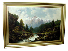 5648 19th C. Framed Oil on board Landscape Painting Signed: Mary E. Cook