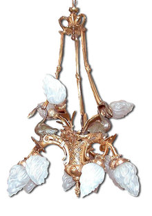 56.681 56.681 12-Light French Empire Chandelier with Swans & Bronze Ties