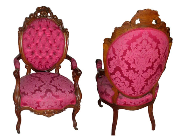 36.105 2 PC. ROSEWOOD ROCOCO PARLOUR SUITE BY GALUSHA c. 1860