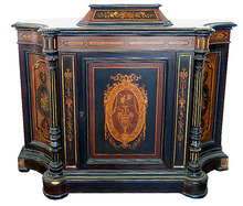 27.9166 Inlaid & Ebonized Cabinet w/Bronze Trim.