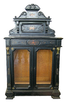 27.1391 Antique Ebonized & Inlaid Cabinet with Glass Doors