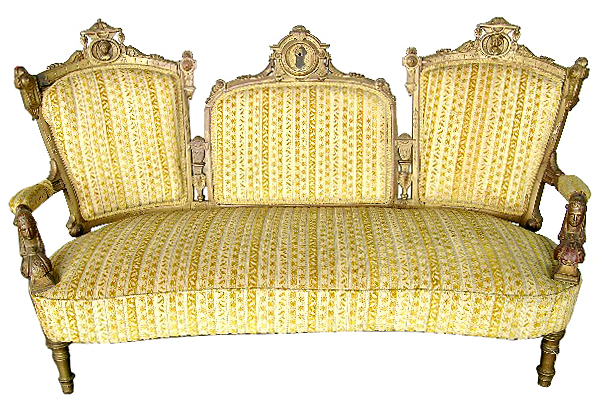 36.1965 19th C. Victorian Walnut Gilt Sofa w/ Carved Ladies Heads by Jelliff