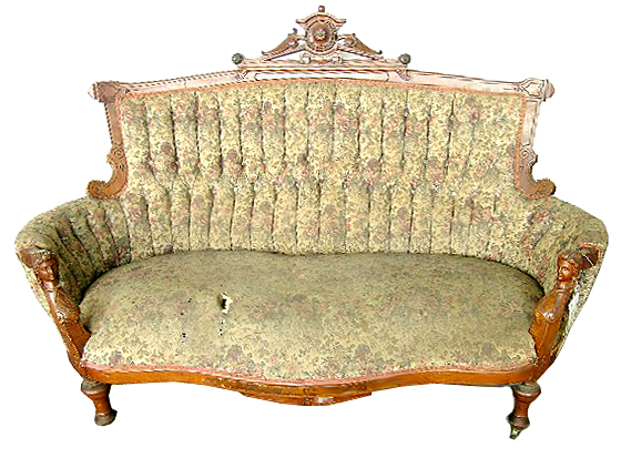 36.2389 19th C. Victorian Walnut Sofa w/ Carved Ladies Heads by Jelliff