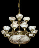 57.5728 French Bronze & Alabaster Chandelier