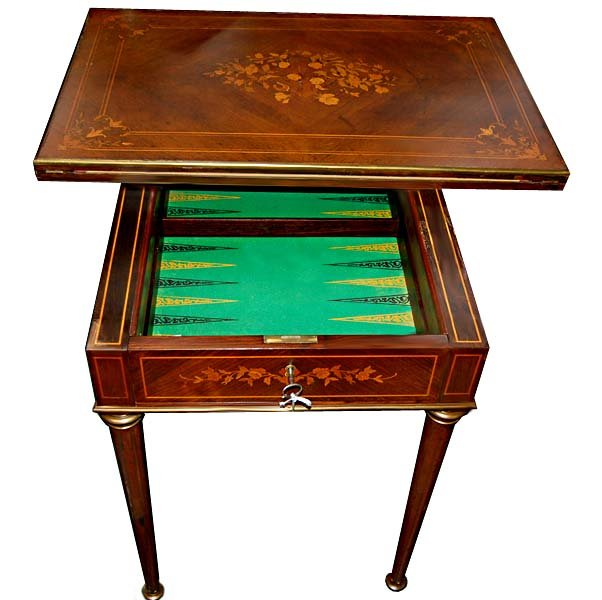 19.1142 Antique French Inlaid Side/Game Table with Backgammon Board