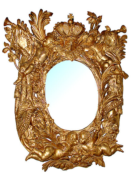 32.5779 Pair of Italian Baroque Giltwood Mirrors c. 1691