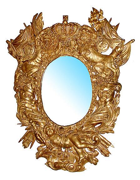 32.5779 Pair of Italian Baroque Giltwood Mirrors c. 1691