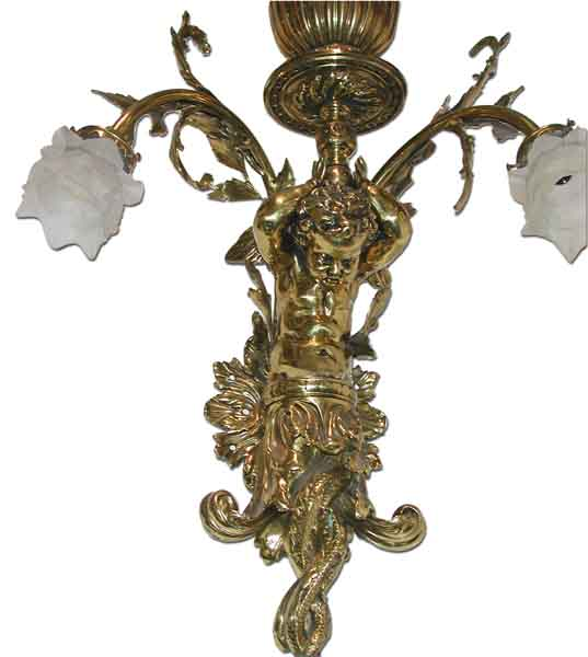 60.4042 Pair of Beautiful Brass Wall Sconces with Figural Cupids