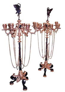 63.5819 Pair of French Napoleon III Patinated & Gilt Bronze 6-Light Candelabra