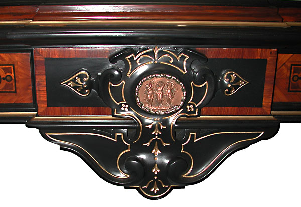 54.5884 Rare Pottier & Stymus Walnut Victorian Inlaid Console with Marble Top