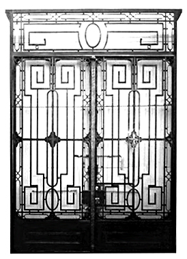 65.5901  Pair of Wrought Iron Doors with Strong Geometric Composition