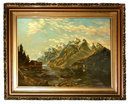 77.5915 Early 20th C. Framed Oil on Canvas Landscape Painting Signed W. Admonson 1912