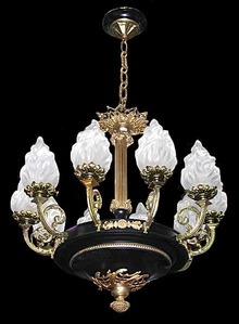 57.5919 Fine Quality Tole and Bronze French Empire Chandelier
