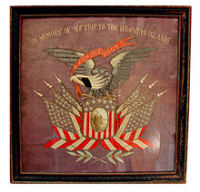77.5940 Framed WWI Needlepoint Memorabilia