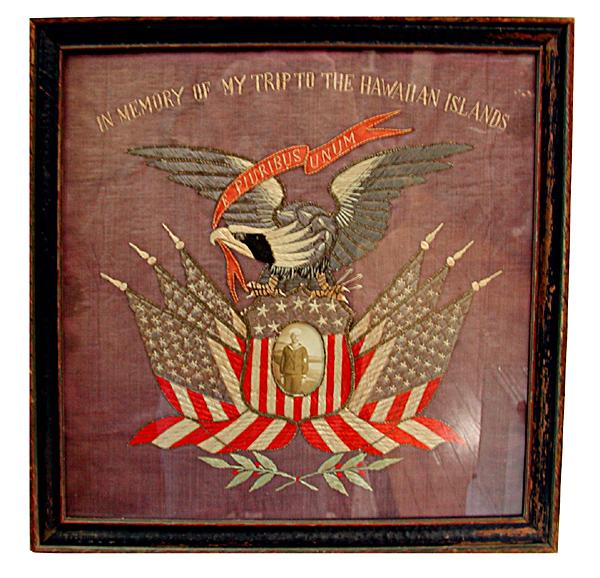 77.5940 Framed WWI Needlepoint Memorabilia