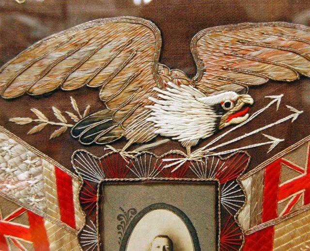77.5941 Framed Naval Embroidery Memorabilia Circa 1900