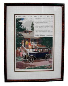 78.8454 Original 1930s Auto Print Ads with Frame