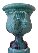 81.5965 Pair of Majolica Turquoise Urns