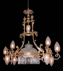 55.5972 19th C. Bronze Griffin Chandelier