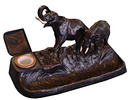 6044 Large Bronze Art Deco Elephant Inkwell with White Tusks