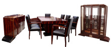 6055 11-Piece Ebony d'Massacar Art Deco Dining Set by Dominique