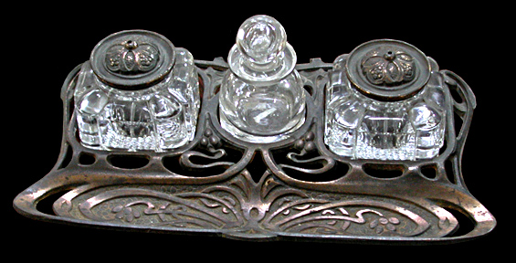 70.273 Bronze & Crystal Inkwell