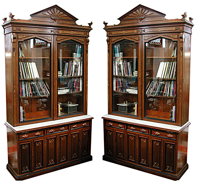 116 Pair of Renaissance Revival Breakfront Bookcases