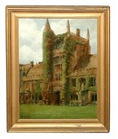 77.6084  Original 19th C. Framed Oil on Canvas of Gothic Building Signed Perry